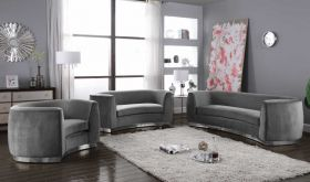 Bria Contemporary Living Room Set in Gray