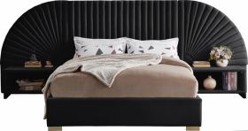 Brighton Contemporary Velvet Bedroom Set in Black