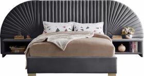 Brighton Contemporary Velvet Bedroom Set in Grey