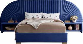 Brighton Contemporary Velvet Bedroom Set in Navy