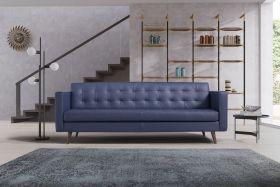 Turin Leather Living Room Set in Spessorato Blue Prussia