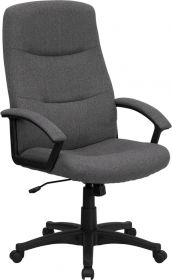 High Back Gray Fabric Executive Swivel Office Chair [BT-134A-GY-GG]