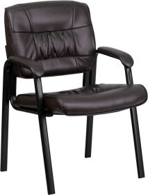 Brown Leather Executive Side Chair with Black Frame Finish [BT-1404-BN-GG]
