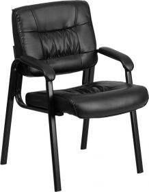 Black Leather Executive Side Chair with Black Frame Finish [BT-1404-GG]