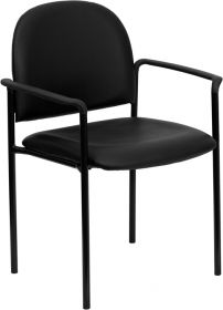 Black Vinyl Comfortable Stackable Steel Side Chair with Arms [BT-516-1-VINYL-GG]