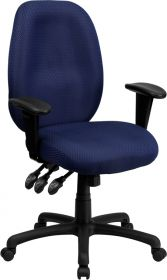High Back Navy Fabric Multi-Functional Ergonomic Executive Swivel Office Chair with Height Adjustable Arms [BT-6191H-NY-GG]