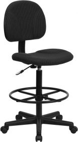 Black Patterned Fabric Ergonomic Drafting Chair (Adjustable Range 22.5''-27''H or 26''-30.5''H) [BT-659-BLK-GG]