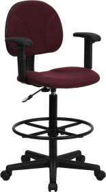 Burgundy Fabric Ergonomic Drafting Chair with Height Adjustable Arms (Adjustable Range 22.5''-27''H or 26''-30.5''H) [BT-659-BY-ARMS-GG]