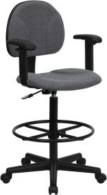 Gray Fabric Ergonomic Drafting Chair with Height Adjustable Arms (Adjustable Range 22.5''-27''H or 26''-30.5''H) [BT-659-GRY-ARMS-GG]