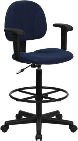 Navy Blue Patterned Fabric Ergonomic Drafting Chair with Height Adjustable Arms (Adjustable Range 22.5''-27''H or 26''-30.5''H) [BT-659-NVY-ARMS-GG]
