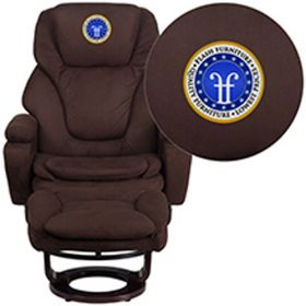 Embroidered Contemporary Brown Microfiber Recliner & Ottoman with Swiveling Mahogany Wood Base [BT-70222-MIC-FLAIR-EMB-GG]