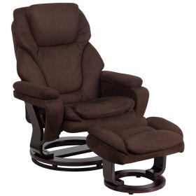 Contemporary Brown Microfiber Recliner and Ottoman with Swiveling Mahogany Wood Base [BT-70222-MIC-FLAIR-GG]