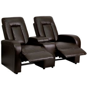 Eclipse Series 2-Seat Reclining Brown Leather Theater Seating Unit with Cup Holders [BT-70259-2-BRN-GG]