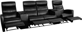 Anetos Series 4-Seat Reclining Black Leather Theater Seating Unit with Cup Holders [BT-70273-4-BK-GG]