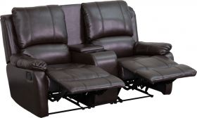 Allure Series 2-Seat Reclining Pillow Back Brown Leather Theater Seating Unit with Cup Holders [BT-70295-2-BRN-GG]
