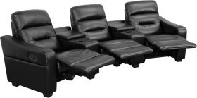 Futura Series 3-Seat Reclining Black Leather Theater Seating Unit with Cup Holders [BT-70380-3-BK-GG]