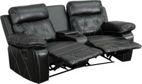 Real Comfort Series 2-Seat Reclining Black Leather Theater Seating Unit with Curved Cup Holders [BT-70530-2-BK-CV-GG]