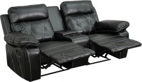 Real Comfort Series 2-Seat Reclining Black Leather Theater Seating Unit with Straight Cup Holders [BT-70530-2-BK-GG]