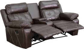 Real Comfort Series 2-Seat Reclining Brown Leather Theater Seating Unit with Curved Cup Holders [BT-70530-2-BRN-CV-GG]
