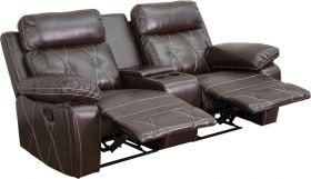 Real Comfort Series 2-Seat Reclining Brown Leather Theater Seating Unit with Straight Cup Holders [BT-70530-2-BRN-GG]