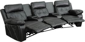 Real Comfort Series 3-Seat Reclining Black Leather Theater Seating Unit with Curved Cup Holders [BT-70530-3-BK-CV-GG]