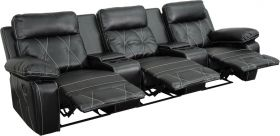 Real Comfort Series 3-Seat Reclining Black Leather Theater Seating Unit with Straight Cup Holders [BT-70530-3-BK-GG]