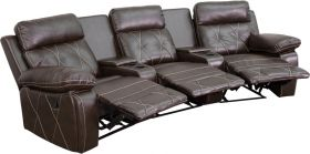 Real Comfort Series 3-Seat Reclining Brown Leather Theater Seating Unit with Curved Cup Holders [BT-70530-3-BRN-CV-GG]