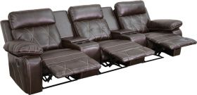 Real Comfort Series 3-Seat Reclining Brown Leather Theater Seating Unit with Straight Cup Holders [BT-70530-3-BRN-GG]