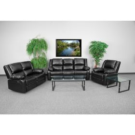 Harmony Series Black Leather Reclining Sofa Set [BT-70597-RLS-SET-GG]