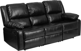 Harmony Series Black Leather Sofa with Two Built-in Recliners [BT-70597-SOF-GG]