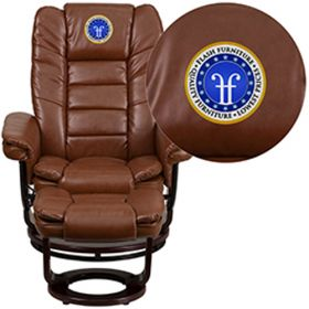 Embroidered Contemporary Brown Vintage Leather Recliner & Ottoman with Swiveling Mahogany Wood Base [BT-7818-VIN-EMB-GG]