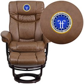 Embroidered Contemporary Plamino Leather Recliner & Ottoman with Swiveling Mahogany Wood Base [BT-7821-PALIMINO-EMB-GG]