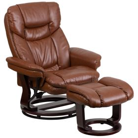 Contemporary Brown Vintage Leather Recliner and Ottoman with Swiveling Mahogany Wood Base [BT-7821-VIN-GG]
