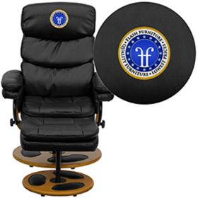 Embroidered Contemporary Black Leather Recliner & Ottoman with Swiveling Mahogany Wood Base [BT-7828-PILLOW-EMB-GG]