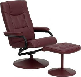 Contemporary Burgundy Leather Recliner and Ottoman with Leather Wrapped Base [BT-7862-BURG-GG]