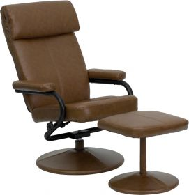 Contemporary Palomino Leather Recliner and Ottoman with Leather Wrapped Base [BT-7863-PALOMINO-GG]
