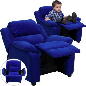Deluxe Padded Contemporary Blue Microfiber Kids Recliner with Storage Arms [BT-7985-KID-MIC-BLUE-GG]