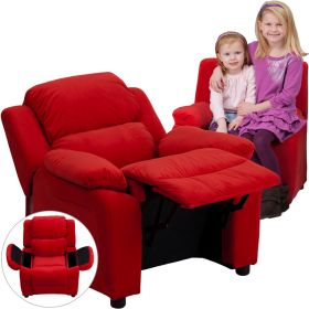 Deluxe Padded Contemporary Red Microfiber Kids Recliner with Storage Arms [BT-7985-KID-MIC-RED-GG]