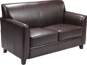 HERCULES Diplomat Series Brown Leather Loveseat [BT-827-2-BN-GG]