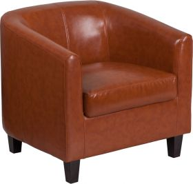 Cognac Leather Office Guest Chair / Reception Chair [BT-873-CG-GG]
