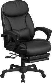 High Back Black Leather Executive Reclining Swivel Chair with Comfort Coil Seat Springs & Arms [BT-90506H-GG]