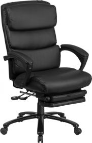 High Back Black Leather Executive Reclining Swivel Chair with Comfort Coil Seat Springs & Arms [BT-90519H-GG]