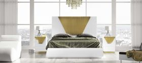 Caggiano Modern Bedroom Set in White & Gold