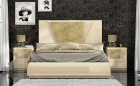 Caiazzo Modern Bedroom Set in Beige & Gray, Gold