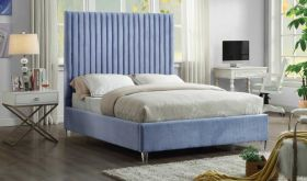 Candace Contemporary Velvet Bed in Sky Blue