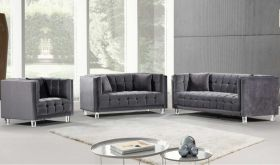 Cardigan Contemporary Living Room Set in Gray