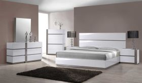Carlsbad Modern Bedroom Set in Gloss White & Gray