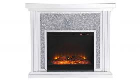 "Cato 47.5"" Crystal Mirrored Mantle with Wood Log Insert Fireplace in White"