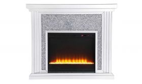 "Cayuta 47.5"" Crystal Mirrored Mantle with Crystal Insert Fireplace in White"