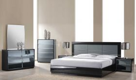 Cerrito Modern Bedroom Set in High Gloss Black